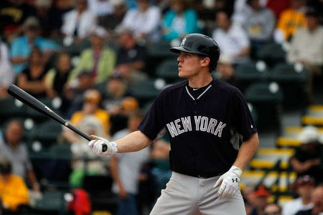 Feb 26, 2014; Bradenton, FL, USA; New York Yankees second baseman Corban Joseph (72) at bat against the Pittsburgh Pirates at McKechnie Field. Mandatory Credit: Kim Klement-USA TODAY Sports