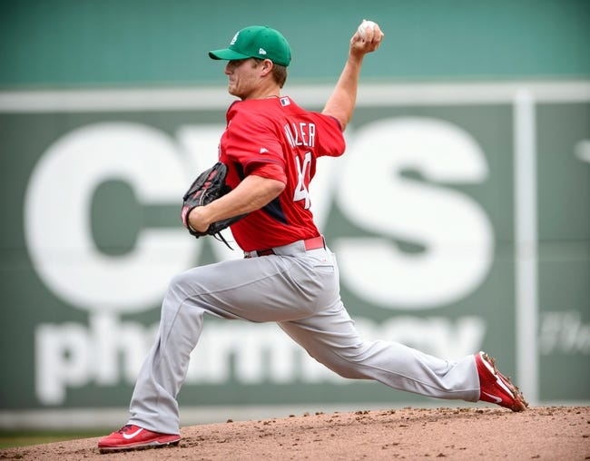 Mar 17, 2014; Fort Myers, FL, USA; St. Louis Cardinals starting pitcher Shelby Miller (40) pitches against the Boston Red Sox during the game at JetBlue Park. Mandatory Credit: Jerome Miron-USA TODAY Sports