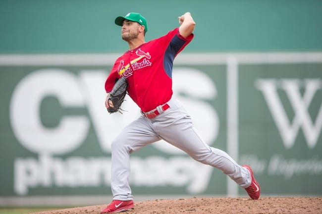 Mar 17, 2014; Fort Myers, FL, USA; St. Louis Cardinals starting pitcher Tyler Lyons (70) pitches against the Boston Red Sox during the fifth inning at JetBlue Park.  The Boston Red Sox defeated the St. Louis Cardinals 10-5. Mandatory Credit: Jerome Miron-USA TODAY Sports