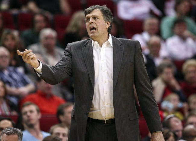 Mar 17, 2014; Houston, TX, USA; Houston Rockets head coach Kevin McHale coaches from the sideline during the third quarter against the Utah Jazz at Toyota Center. Mandatory Credit: Troy Taormina-USA TODAY Sports