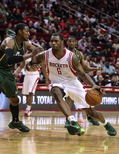 Mar 17, 2014; Houston, TX, USA; Houston Rockets forward Terrence Jones (6) drives to the basket during the fourth quarter against the Utah Jazz at Toyota Center. Mandatory Credit: Troy Taormina-USA TODAY Sports