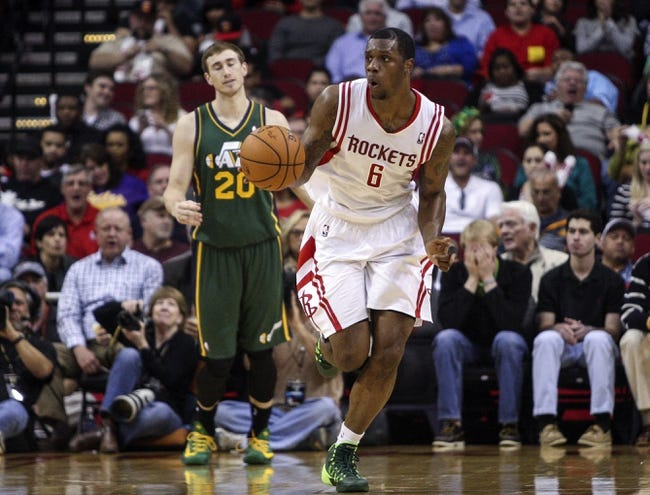 Mar 17, 2014; Houston, TX, USA; Houston Rockets forward Terrence Jones (6) brings the ball up the court during the third quarter against the Utah Jazz at Toyota Center. The Rockets defeated the Jazz 124-86. Mandatory Credit: Troy Taormina-USA TODAY Sports