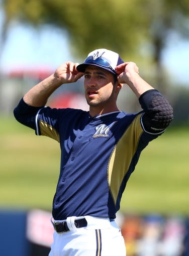 Mar 18, 2014; Phoenix, AZ, USA; Milwaukee Brewers outfielder Ryan Braun prior to the game against the Texas Rangers at Maryvale Baseball Park. Mandatory Credit: Mark J. Rebilas-USA TODAY Sports
