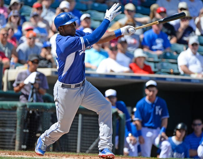 Mar 11, 2014; Surprise, AZ, USA; Los Angeles Dodgers right fielder Yasiel Puig (66) during the first inning against the Kansas City Royals at Surprise Stadium. Mandatory Credit: Christopher Hanewinckel-USA TODAY Sports