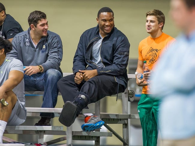Mar 20, 2014; Notre Dame, IN, USA; Notre Dame Fighting Irish former football player Stephon Tuitt watches during Notre Dame pro day at the Guglielmino Athletics Complex. Mandatory Credit: Matt Cashore-USA TODAY Sports