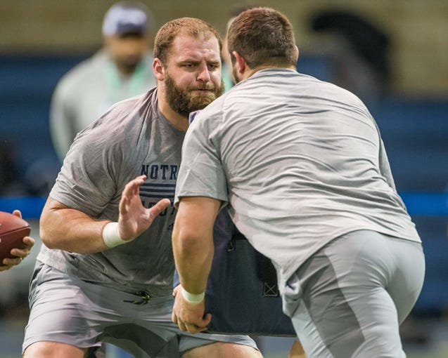 Mar 20, 2014; Notre Dame, IN, USA; Notre Dame Fighting Irish former football player Mike Golic Jr. runs a drill during Notre Dame pro day at the Guglielmino Athletics Complex. Mandatory Credit: Matt Cashore-USA TODAY Sports
