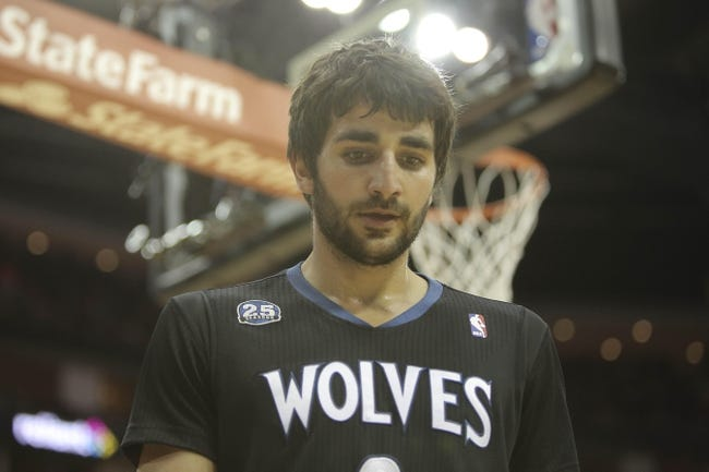 Mar 20, 2014; Houston, TX, USA; Minnesota Timberwolves guard Ricky Rubio (9) reacts to a play during the third quarter against the Houston Rockets at Toyota Center. Mandatory Credit: Andrew Richardson-USA TODAY Sports