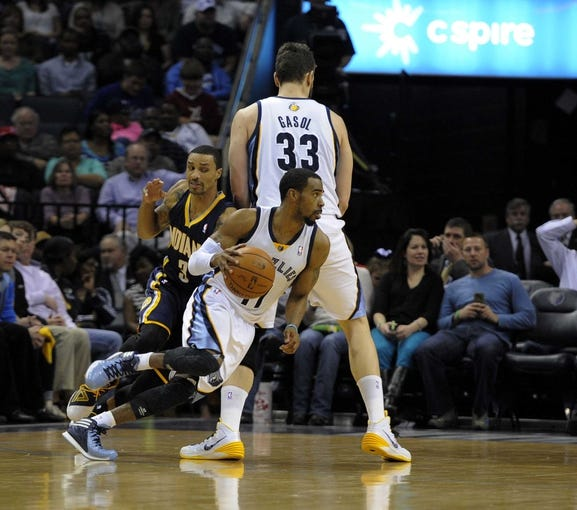 Mar 22, 2014; Memphis, TN, USA; Memphis Grizzlies center Marc Gasol (33) sets a pick for Memphis Grizzlies guard Mike Conley (11) against Indiana Pacers guard George Hill (3) during the game at FedExForum. Mandatory Credit: Justin Ford-USA TODAY Sports