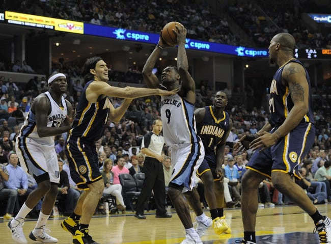 Mar 22, 2014; Memphis, TN, USA; Memphis Grizzlies guard Tony Allen (9) drives to the basket against Indiana Pacers forward Luis Scola (4) during the game at FedExForum. Memphis Grizzlies defeat the Indiana Pacers 82 - 71. Mandatory Credit: Justin Ford-USA TODAY Sports