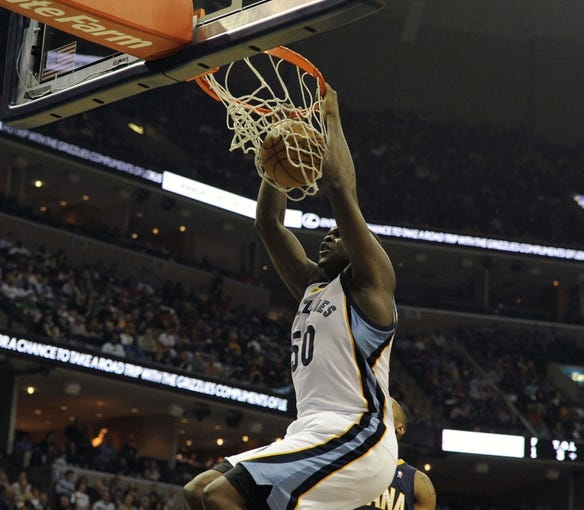 Mar 22, 2014; Memphis, TN, USA; Memphis Grizzlies forward Zach Randolph (50) dunks the ball against the Indiana Pacers during the game at FedExForum. Memphis Grizzlies defeat the Indiana Pacers 82 - 71. Mandatory Credit: Justin Ford-USA TODAY Sports