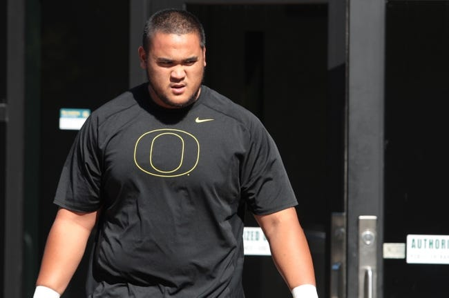 Mar 13, 2014; Eugene, OR, USA; Oregon Ducks ducks defensive tackle Wade Keliikipi works out in front of NFL scouts at Moshofsky Center. Mandatory Credit: Scott Olmos-USA TODAY Sports