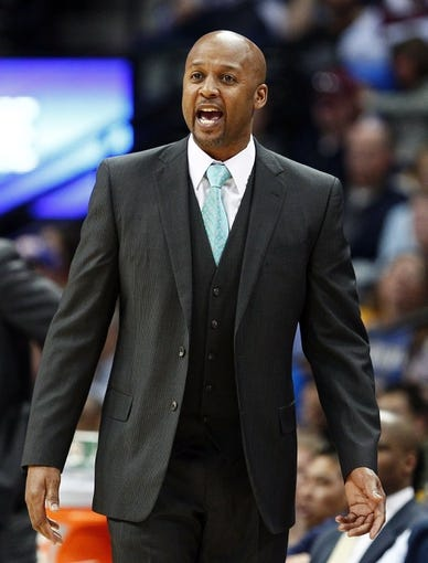 Mar 23, 2014; Denver, CO, USA; Denver Nuggets head coach Brian Shaw reacts to a call in the second quarter against the Washington Wizards at the Pepsi Center. Mandatory Credit: Isaiah J. Downing-USA TODAY Sports