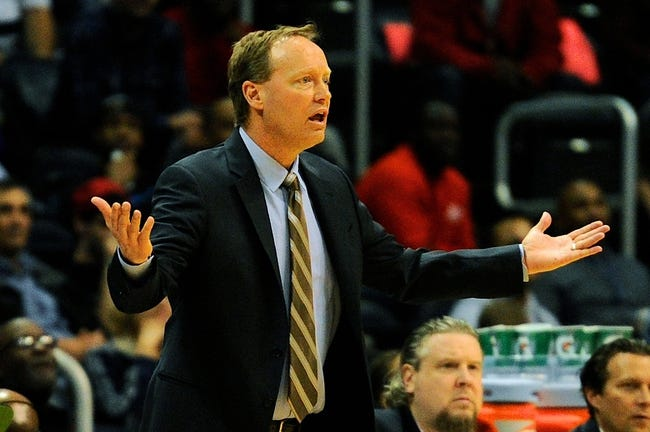 Mar 24, 2014; Atlanta, GA, USA; Atlanta Hawks head coach Mike Budenholzer reacts during the game against the Phoenix Suns during the first half at Philips Arena. Mandatory Credit: Dale Zanine-USA TODAY Sports