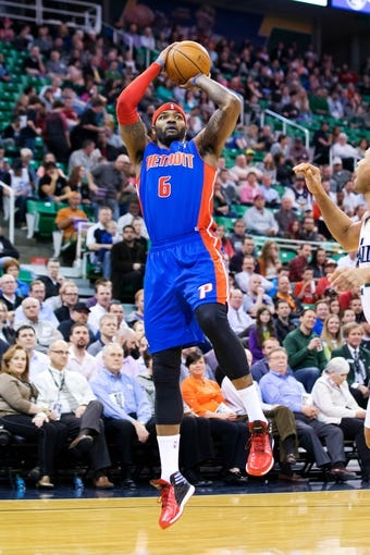 Mar 24, 2014; Salt Lake City, UT, USA; Detroit Pistons forward Josh Smith (6) shoots during the first half against the Utah Jazz at EnergySolutions Arena. Mandatory Credit: Russ Isabella-USA TODAY Sports