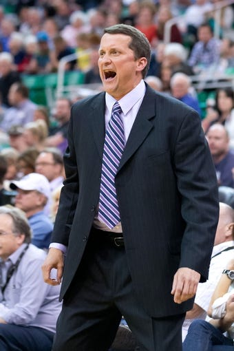 Mar 24, 2014; Salt Lake City, UT, USA; Detroit Pistons head coach John Loyer reacts during the second half against the Utah Jazz at EnergySolutions Arena. The Pistons won 114-94. Mandatory Credit: Russ Isabella-USA TODAY Sports