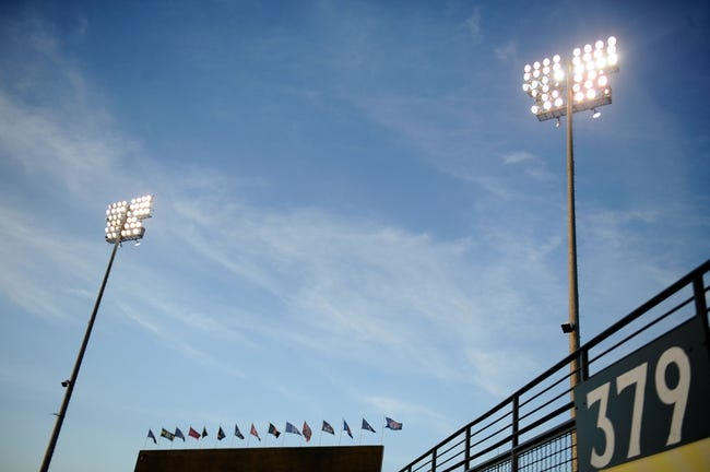 Mar 18, 2014; Surprise, AZ, USA; A general view of stadium lights before the start of the game between the Texas Rangers and the Chicago Cubs at Surprise Stadium. Mandatory Credit: Joe Camporeale-USA TODAY Sports