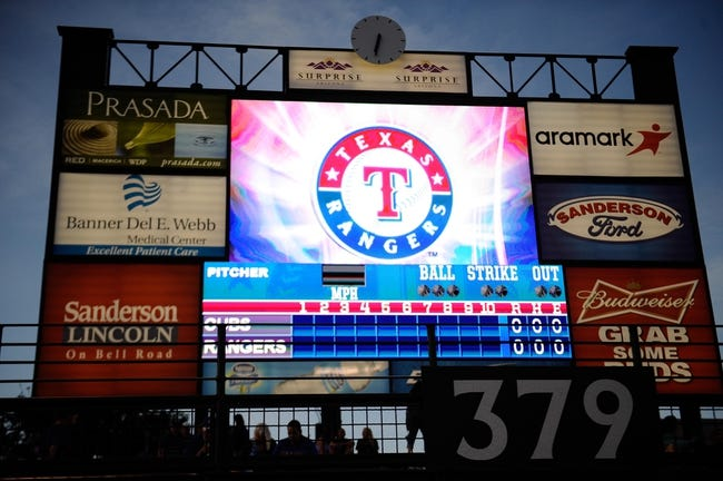 Mar 18, 2014; Surprise, AZ, USA; A general view of stadium before the start of the game between the Texas Rangers and the Chicago Cubs at Surprise Stadium. Mandatory Credit: Joe Camporeale-USA TODAY Sports