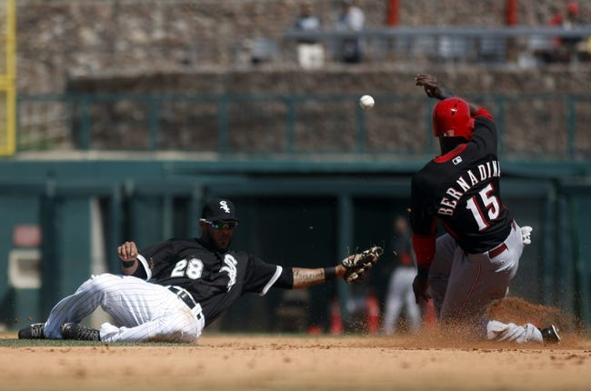 Mar 26, 2014; Phoenix, AZ, USA; Cincinnati Reds center fielder Roger Bernadina (15) steals second base in front of Chicago White Sox second baseman Leury Garcia (28) in the fourth inning at Camelback Ranch. Mandatory Credit: Rick Scuteri-USA TODAY Sports