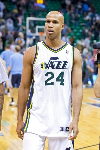 Mar 26, 2014; Salt Lake City, UT, USA; Utah Jazz forward Richard Jefferson (24) leaves the court after losing to the Memphis Grizzlies 91-87 at EnergySolutions Arena. Mandatory Credit: Russ Isabella-USA TODAY Sports
