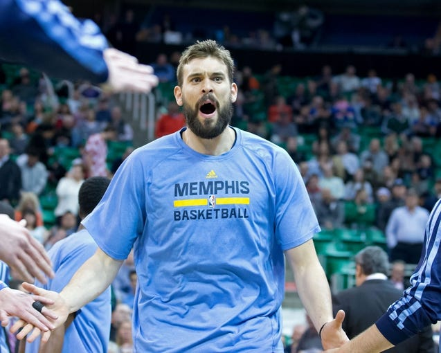 Mar 26, 2014; Salt Lake City, UT, USA; Memphis Grizzlies center Marc Gasol (33) is introduced prior to the game against the Utah Jazz at EnergySolutions Arena. The Grizzlies won 91-87. Mandatory Credit: Russ Isabella-USA TODAY Sports