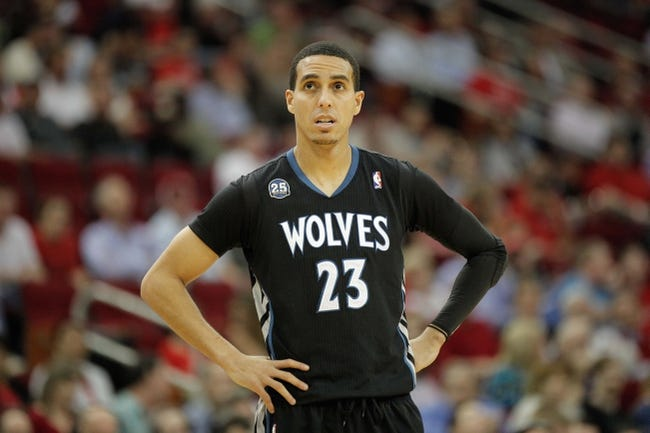 Mar 20, 2014; Houston, TX, USA; Minnesota Timberwolves guard Kevin Martin (23) reacts to a play during the second quarter against the Houston Rockets at Toyota Center. Mandatory Credit: Andrew Richardson-USA TODAY Sports