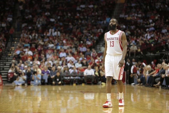Mar 20, 2014; Houston, TX, USA; Houston Rockets guard James Harden (13) stands on the court during the second quarter against the Minnesota Timberwolves at Toyota Center. Mandatory Credit: Andrew Richardson-USA TODAY Sports
