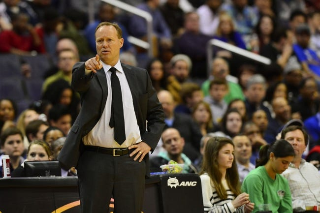 Mar 29, 2014; Washington, DC, USA; Atlanta Hawks head coach Mike Budenholzer directs his team from the sidelines during the second quarter against the Washington Wizards at Verizon Center. Mandatory Credit: Tommy Gilligan-USA TODAY Sports