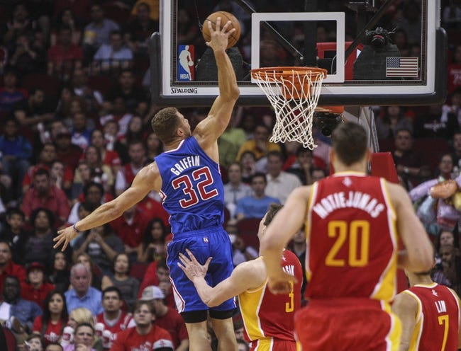 Mar 29, 2014; Houston, TX, USA; Los Angeles Clippers forward Blake Griffin (32) dunks the ball during the first quarter against the Houston Rockets at Toyota Center. Mandatory Credit: Troy Taormina-USA TODAY Sports