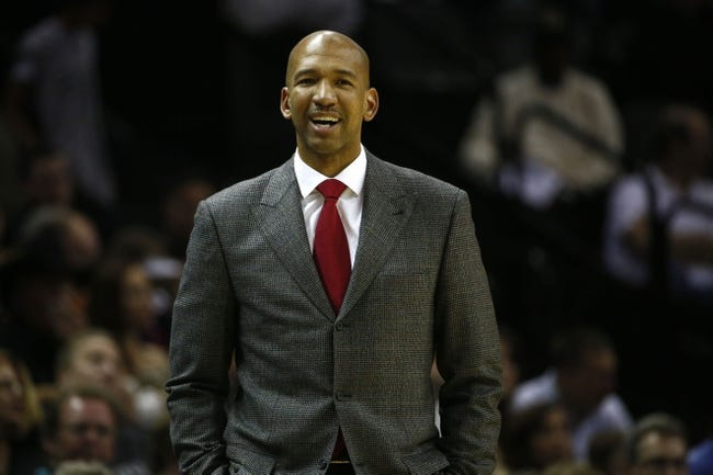 Mar 29, 2014; San Antonio, TX, USA; New Orleans Pelicans head coach Monty Williams reacts to a call during the second half against the San Antonio Spurs at AT&T Center. The Spurs won 96-80. Mandatory Credit: Soobum Im-USA TODAY Sports
