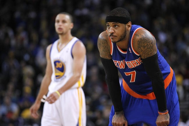 Mar 30, 2014; Oakland, CA, USA; New York Knicks forward Carmelo Anthony (7) stands on the court against the Golden State Warriors in the third quarter at Oracle Arena. The Knicks won 89-84. Mandatory Credit: Cary Edmondson-USA TODAY Sports