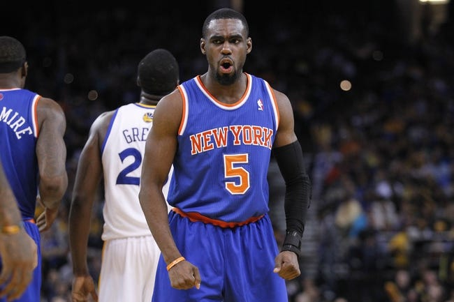 Mar 30, 2014; Oakland, CA, USA; New York Knicks guard Tim Hardaway Jr. (5) reacts against the Golden State Warriors in the fourth quarter at Oracle Arena. The Knicks won 89-84. Mandatory Credit: Cary Edmondson-USA TODAY Sports