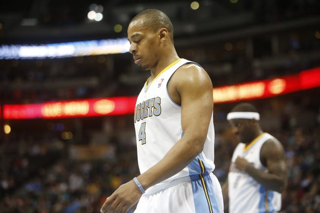 oMar 31, 2014; Denver, CO, USA; Denver Nuggets guard Randy Foye (4) reacts on the court during the second half against the Memphis Grizzlies at Pepsi Center.  The Grizzlies won 94-92.  Mandatory Credit: Chris Humphreys-USA TODAY Sports