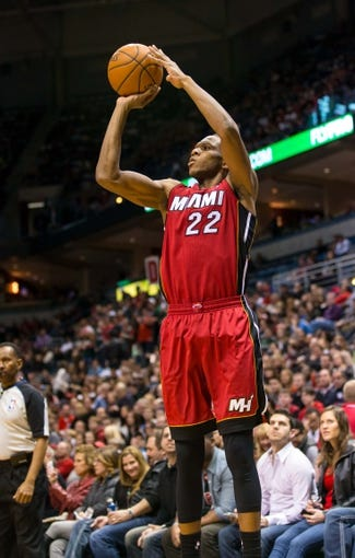 Mar 29, 2014; Milwaukee, WI, USA; Miami Heat forward James Jones (22) during the game against the Milwaukee Bucks at BMO Harris Bradley Center.  Miami won 88-67.  Mandatory Credit: Jeff Hanisch-USA TODAY Sports