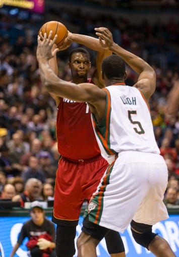 Mar 29, 2014; Milwaukee, WI, USA; Miami Heat center Chris Bosh (1) during the game against the Milwaukee Bucks at BMO Harris Bradley Center.  Miami won 88-67.  Mandatory Credit: Jeff Hanisch-USA TODAY Sports