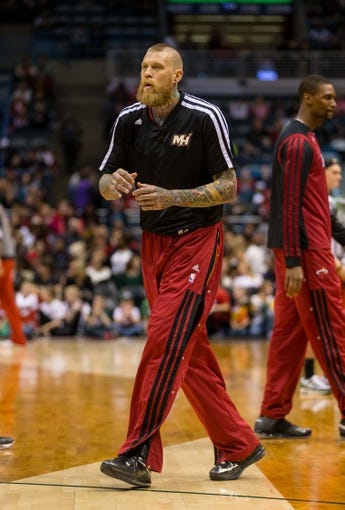 Mar 29, 2014; Milwaukee, WI, USA; Miami Heat forward Chris Andersen (11) during warmups prior to the game against the Milwaukee Bucks at BMO Harris Bradley Center.  Miami won 88-67.  Mandatory Credit: Jeff Hanisch-USA TODAY Sports