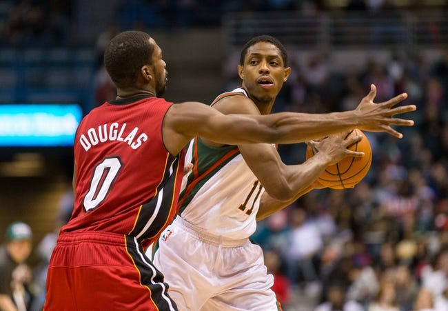 Mar 29, 2014; Milwaukee, WI, USA; Milwaukee Bucks guard Brandon Knight (11) during the game against the Miami Heat at BMO Harris Bradley Center.  Miami won 88-67.  Mandatory Credit: Jeff Hanisch-USA TODAY Sports