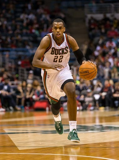 Mar 29, 2014; Milwaukee, WI, USA; Milwaukee Bucks forward Khris Middleton (22) during the game against the Miami Heat at BMO Harris Bradley Center.  Miami won 88-67.  Mandatory Credit: Jeff Hanisch-USA TODAY Sports