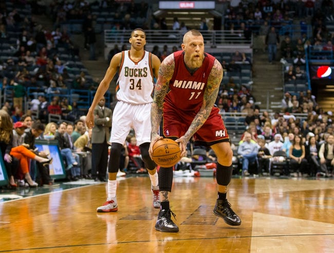 Mar 29, 2014; Milwaukee, WI, USA; Miami Heat forward Chris Andersen (11) during the game against the Milwaukee Bucks at BMO Harris Bradley Center.  Miami won 88-67.  Mandatory Credit: Jeff Hanisch-USA TODAY Sports