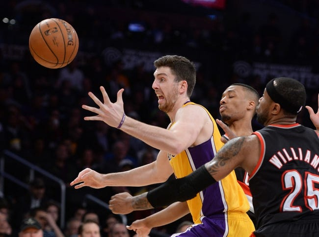 Apr 1, 2014; Los Angeles, CA, USA;  The NBA game ball on the court during the game between the Los Angeles Lakers and the Portland Trail Blazers at Staples Center. Trail Blazers won 124-112. Mandatory Credit: Jayne Kamin-Oncea-USA TODAY Sports