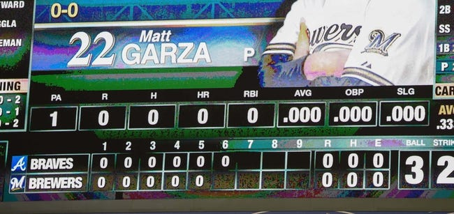 Apr 2, 2014; Milwaukee, WI, USA;  A general view of the scoreboard as the Milwaukee Brewers and Atlanta Braves are both held hitless through six innings at Miller Park. Mandatory Credit: Benny Sieu-USA TODAY Sports
