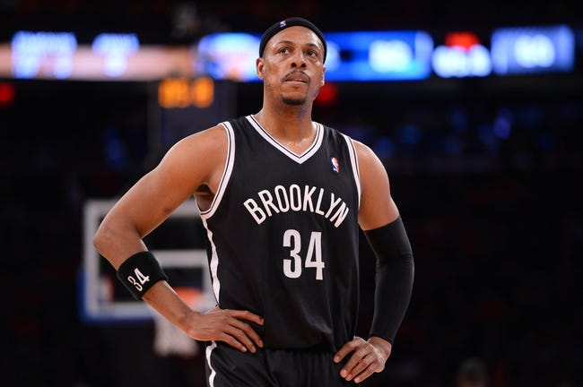 Apr 2, 2014; New York, NY, USA; Brooklyn Nets forward Paul Pierce (34) looks on against the New York Knicks during the second half at Madison Square Garden. The New York Knicks won 110-81. Mandatory Credit: Joe Camporeale-USA TODAY Sports