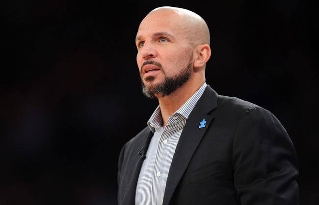 Apr 2, 2014; New York, NY, USA; Brooklyn Nets head coach Jason Kidd looks on against the New York Knicks during the first half at Madison Square Garden. The New York Knicks won 110-81. Mandatory Credit: Joe Camporeale-USA TODAY Sports