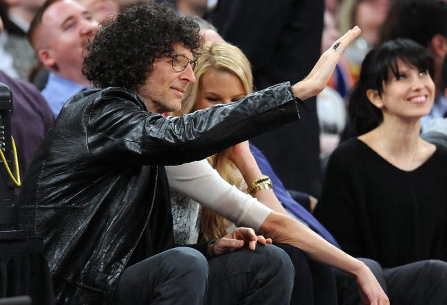 Apr 2, 2014; New York, NY, USA; Television and radio personality Howard Stern attends the game between the New York Knicks and the Brooklyn Nets during the first half at Madison Square Garden. The New York Knicks won 110-81. Mandatory Credit: Joe Camporeale-USA TODAY Sports