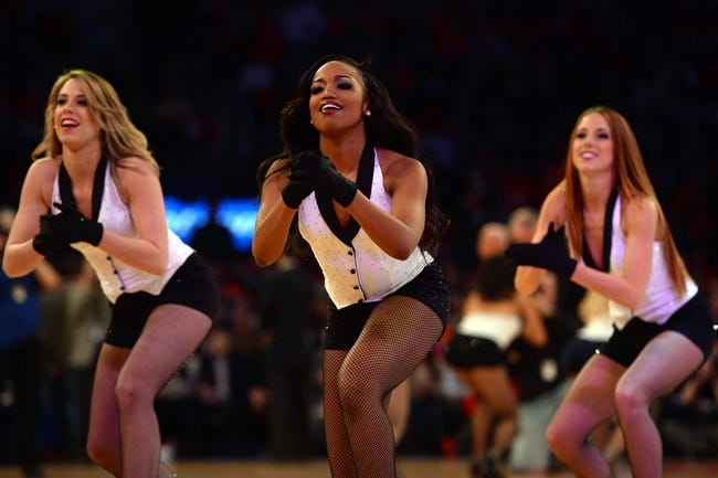 Apr 2, 2014; New York, NY, USA; The Knicks City Dancers perform against the Brooklyn Nets during the first half at Madison Square Garden. The New York Knicks won 110-81. Mandatory Credit: Joe Camporeale-USA TODAY Sports