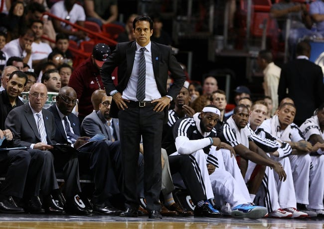 Apr 2, 2014; Miami, FL, USA; Miami Heat head coach Erik Spoelstra in the second half at American Airlines Arena. The Heat won 96-77.  Mandatory Credit: Robert Mayer-USA TODAY Sports
