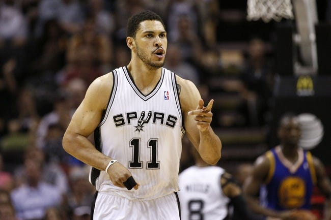 Apr 2, 2014; San Antonio, TX, USA; San Antonio Spurs forward Jeff Ayres (11) reacts after a shot against the Golden State Warriors during the second half at AT&T Center. The Spurs won 111-90. Mandatory Credit: Soobum Im-USA TODAY Sports