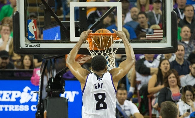 Apr 2, 2014; Sacramento, CA, USA; Sacramento Kings forward Rudy Gay (8) dunks the ball against the Los Angeles Lakers during the second quarter at Sleep Train Arena. Mandatory Credit: Kelley L Cox-USA TODAY Sports