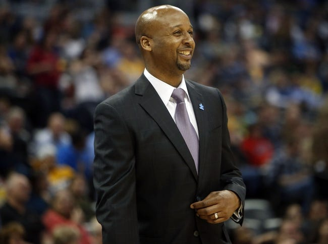 Apr 2, 2014; Denver, CO, USA; Denver Nuggets head coach Brian Shaw during the second half against the New Orleans Pelicans at Pepsi Center.  The Nuggets won 137-107.  Mandatory Credit: Chris Humphreys-USA TODAY Sports