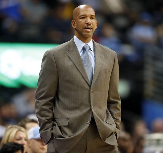 Apr 2, 2014; Denver, CO, USA; New Orleans Pelicans head coach Monty Williams during the second half against the Denver Nuggets at Pepsi Center.  The Nuggets won 137-107.  Mandatory Credit: Chris Humphreys-USA TODAY Sports