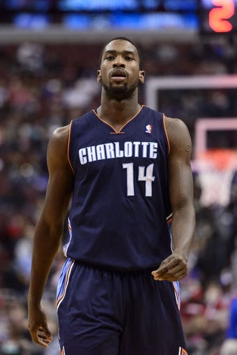 Apr 2, 2014; Philadelphia, PA, USA; Charlotte Bobcats forward Michael Kidd-Gilchrist (14) during the first quarter against the Philadelphia 76ers at the Wells Fargo Center. The Bobcats defeated the Sixers 123-93. Mandatory Credit: Howard Smith-USA TODAY Sports